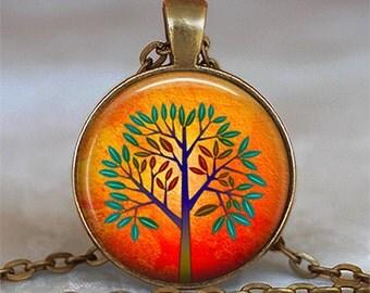 Orange Tree necklace, tree jewelry, tree pendant, modern art tree pendant, modern art tree necklace tree keychain key chain key fob