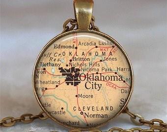 Oklahoma City map necklace, Oklahoma City map pendant, Oklahoma City pendant, Oklahoma City necklace, map keychain key chain