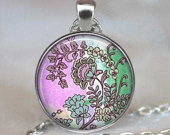 Bohemian Flowers pendant charm, Hippie jewelry Retro Hippie jewelry, retro Hippie flower child necklace keychain key chain