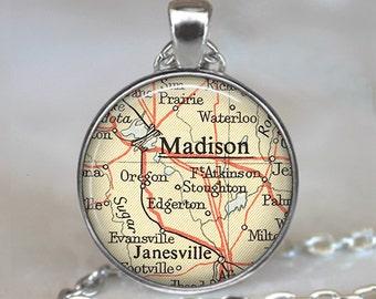 Madison, Wisconsin map pendant, Madison necklace, Madison pendant map jewelry map jewellery map keychain key fob