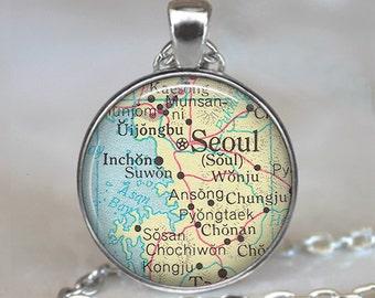 Seoul map pendant, Seoul map necklace, map jewelry, Seoul pendant, Seoul necklace map jewellery, Korean keychain