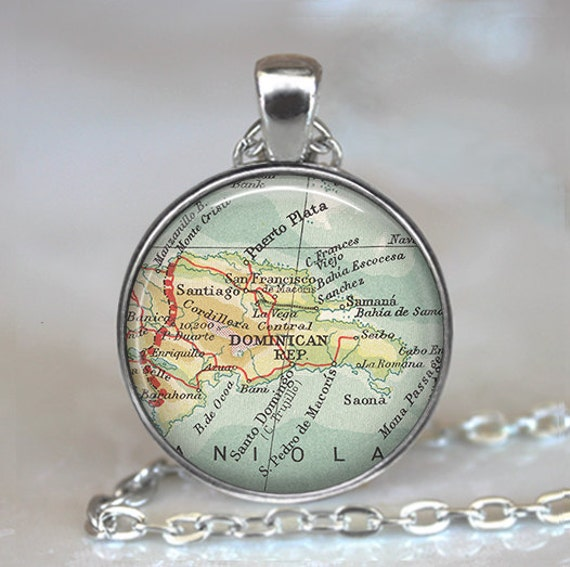 Dominican Republic map necklace, Dominican Republic necklace, vintage map jewelry, Dominican Republic pendant travel map keychain key fob