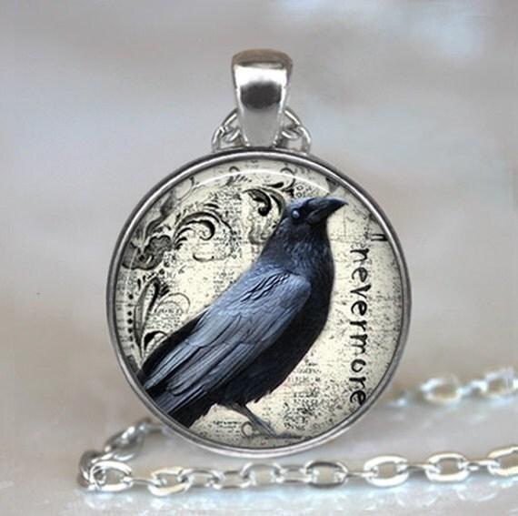 Poe's Raven pendant, raven necklace Poe Nevermore Goth jewelry literary pendant, raven jewellery, raven key fob keychain key chain