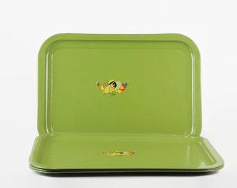 Vintage Metal Tray Set, Green Metal Tray, Art Deco, 1930s Green, Garden Party, Metal Serving Tray
