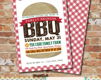 Backyard BBQ Invitation- Family Reunion / Neighborhood BBQ / Couples Shower / Potluck /