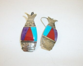 Vintage Silver Cloud  Dangle Earrings with Turquoise Charoite Coral Inlay Sun Rays