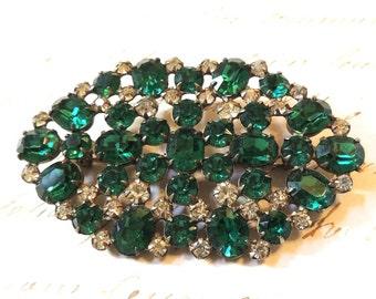 Vintage Green Rhinestone Brooch Pin 1940s Vintage Jewelry
