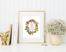 Bible Verse Printable Quote Sign Psalm 46:5 God Is Within Her, She Will Not Fall Christian Floral Print Art INSTANT DOWNLOAD 5x7 8x10 11x14