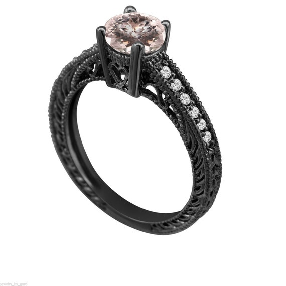 Morganite Engagement Ring Vintage Style 14K Black by JewelryByGaro