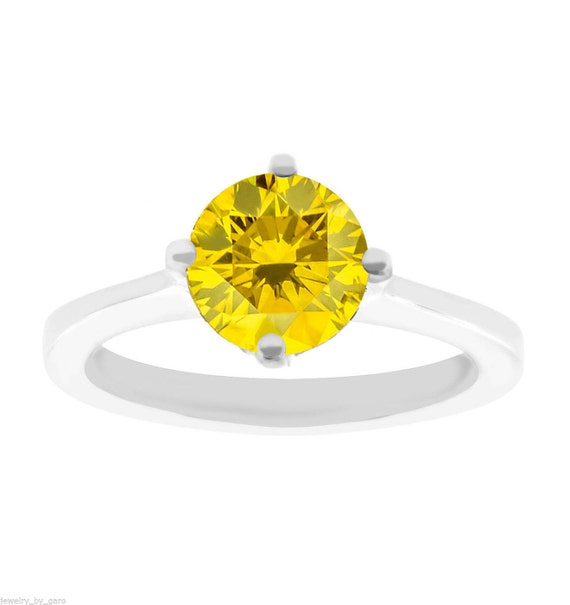 Fancy Canary Yellow Diamond Solitaire Engagement Ring 14K