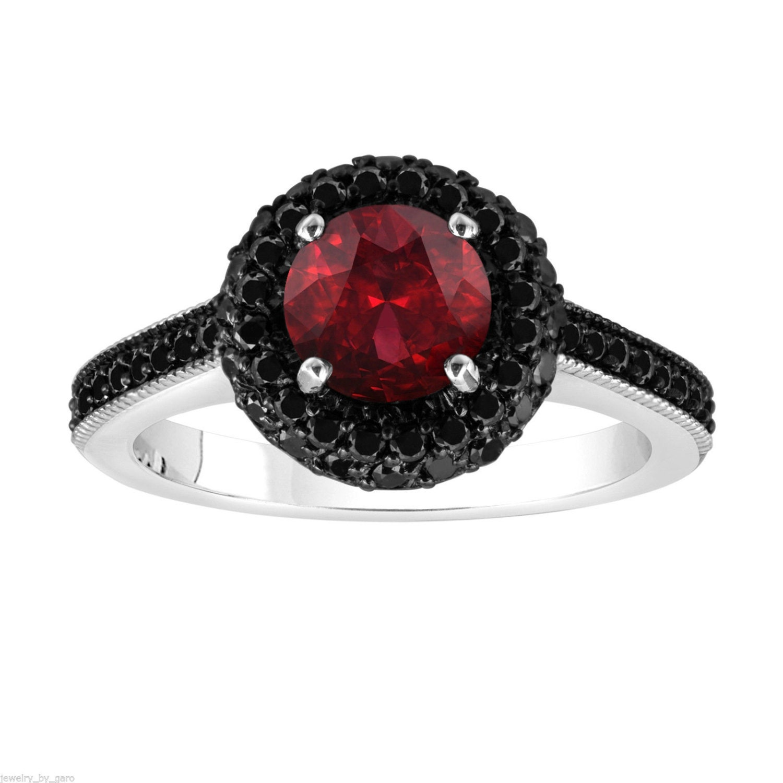 Red Garnet & Fancy Black Diamond Engagement Ring by JewelryByGaro