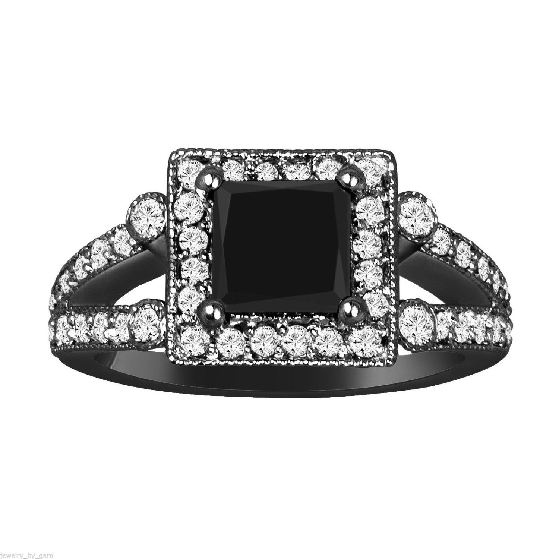 princess cut black diamond engagement ring carat vintage. Black Bedroom Furniture Sets. Home Design Ideas