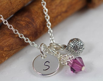 Girl Basketball Charm Necklace Personalized - Initial Necklace for Girls - ALL 925 Sterling Silver