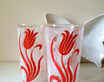Vintage Glassware, Set of 2, Red & White Tulips Juice Glass, ON SALE
