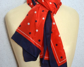 Vera Neumann silk long vintage scarf: Polka Dot Red, Navy Blue and White