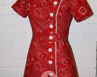 Final Payment RESERVED 1950s Style Dress- Custom Made Red Bandana Wiggle Dress X Strap Pinup Dress
