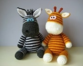 Gerry Giraffe and Ziggy Zebra toy knitting patterns