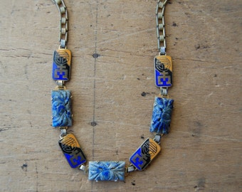 Art Deco 1930s lapis and enamel necklace