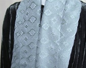 Handwoven Tencel Scarf in Celadon Green and Pale Blue Gray
