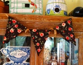 Shabby Chic Chocolate Bunting With Cabbage Pink Roses Banners Pennants