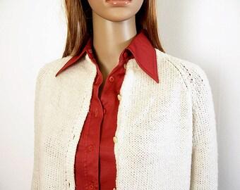 Vintage 1970s Handmade Sweater Cardigan Cream White  Soft Acrylic Knit / XS to Small