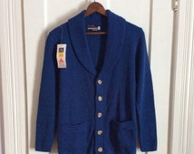Vintage 1970's Mens Deadstock Shawl Collar Cardigan Sweater size Small Blue NWT