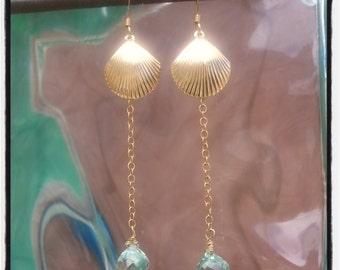 14 Karat Gold Fill Shell and Green Amethyst Earrings