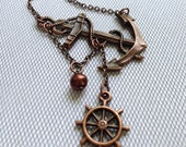 Lost at Sea Necklace by SBC Antique Copper Anchor, Copper FW Pearl, Ship Wheel, Anchor Jewelry, Sideways Anchor, Nautical Necklace, Sailor