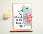 Inspirational Christian Card. Matthew 6:30. Colorful Bird Illustration. MC337