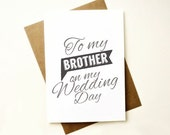 Wedding Thank you Cards. To my brother  on my wedding day card. Wedding Stationery. MC269
