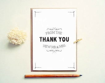 Thank you from the  new Mr. and Mrs. Wedding thank you cards. Modern wedding Thank you. TK390