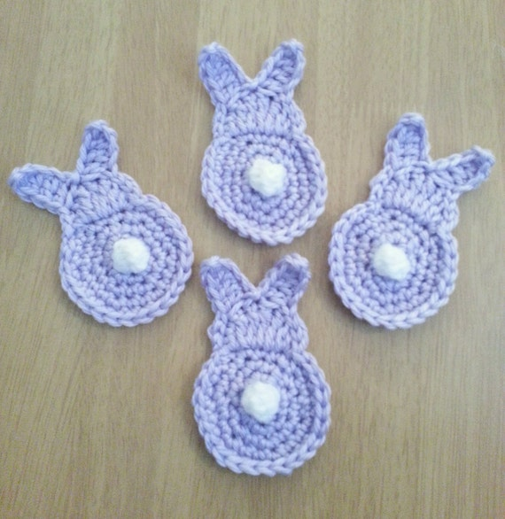 Crochet Bunny Butts, Set of 4 Lilac Easter and Spring Appliques