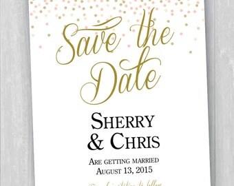 Printable Confetti Save The Date Invitation