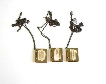 SALE crystal locket necklace . brass book locket necklace . quartz crsytal and brass box locket necklace