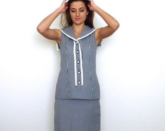 60s Nautical Blue White Gingam Collared Suit Dress s m