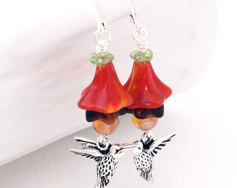 Hummingbird Dangle Earrings - Glass Flowers, Orange Red, Deep Purple, Honey Gold, Silver Leverback Earrings