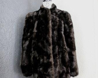 80/90s Jordache Faux Fur Brown Mid Length Winter Coat L-XL