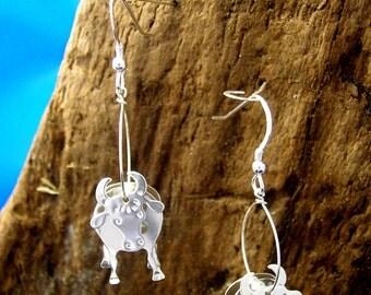 Silver Cow Earrings, 3D Cow Earrings, Sterling Silver Earrings, Cow Jewellery, Handmade, 925 Silver, Cows.