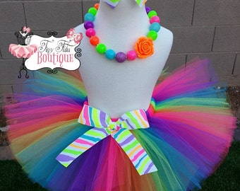 NEON RAINBOW- Hot Pink, Orange, Lime, Purple, and Blue tutu with hairbow:  Newborn-5T