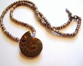 "Ammonite and Baby Oyster Shell Heishi Necklace, Handmade on Etsy, Unique Gift, L: 12 1/4"", Ghana Beads, Birthday, Ethnic, Boho, Organic"