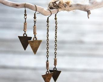 Summer Party Gift Tribal Earrings Long or Short Arrow Earrings Vintage African Beads Spear Earrings Bronze Chain Rustic Bohemian Earrings