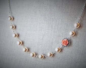Handmade Peach Rose Necklace Ivory Pearl Necklace Peach Flower Necklace Bridesmaid Necklace Peach Ivory Pearl Necklace Resin Flower Necklace