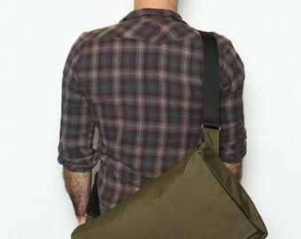 Army Green Laptop Messenger Bag,  Cordura Messenger Bag with Adjustable Straps - Dundee