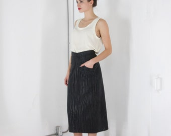 ON SALE Black Leather Maxi Skirt / Straight Zebra Pattern Vintage Skirt / High Waisted Black Long Skirt