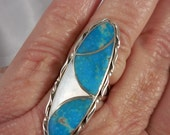 Turquoise Mother of Pearl Sterling Silver Ring