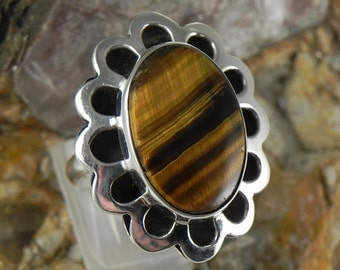 Huge Heco En Mexico Tiger Eye Sterling Ring