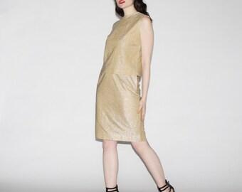 Vintage 60s Gold Lurex Dress  - 1960s Two Piece Dress - The Glitterbug Dress - WD0220