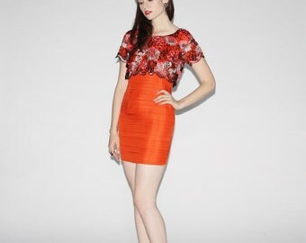 Vintage Orange Cocktail Dress  - Vintage  Lace Party Dresses - The Bright One Dress - WD0007