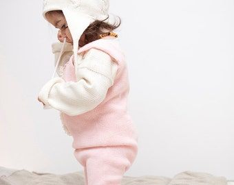 Baby Overall Baby girl clothes Knit Baby overalls Winter Pants Romper suit Light Pink Jumpsuit Girl dungaree