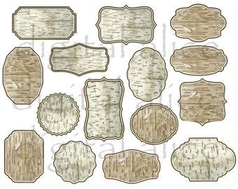 BIRCH BARK LABELS - Faux Framed Birchbark Frames - Rustic Birch Bark Labels Tags -Write on DiY- Instant Download Digital Printable - 2 sizes